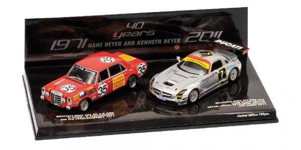 SET TRIBUTE TO HEYER MERCEDES 300 SEL 6.8 AMG 1971 + SLS GT3 2011 Minichamps Min