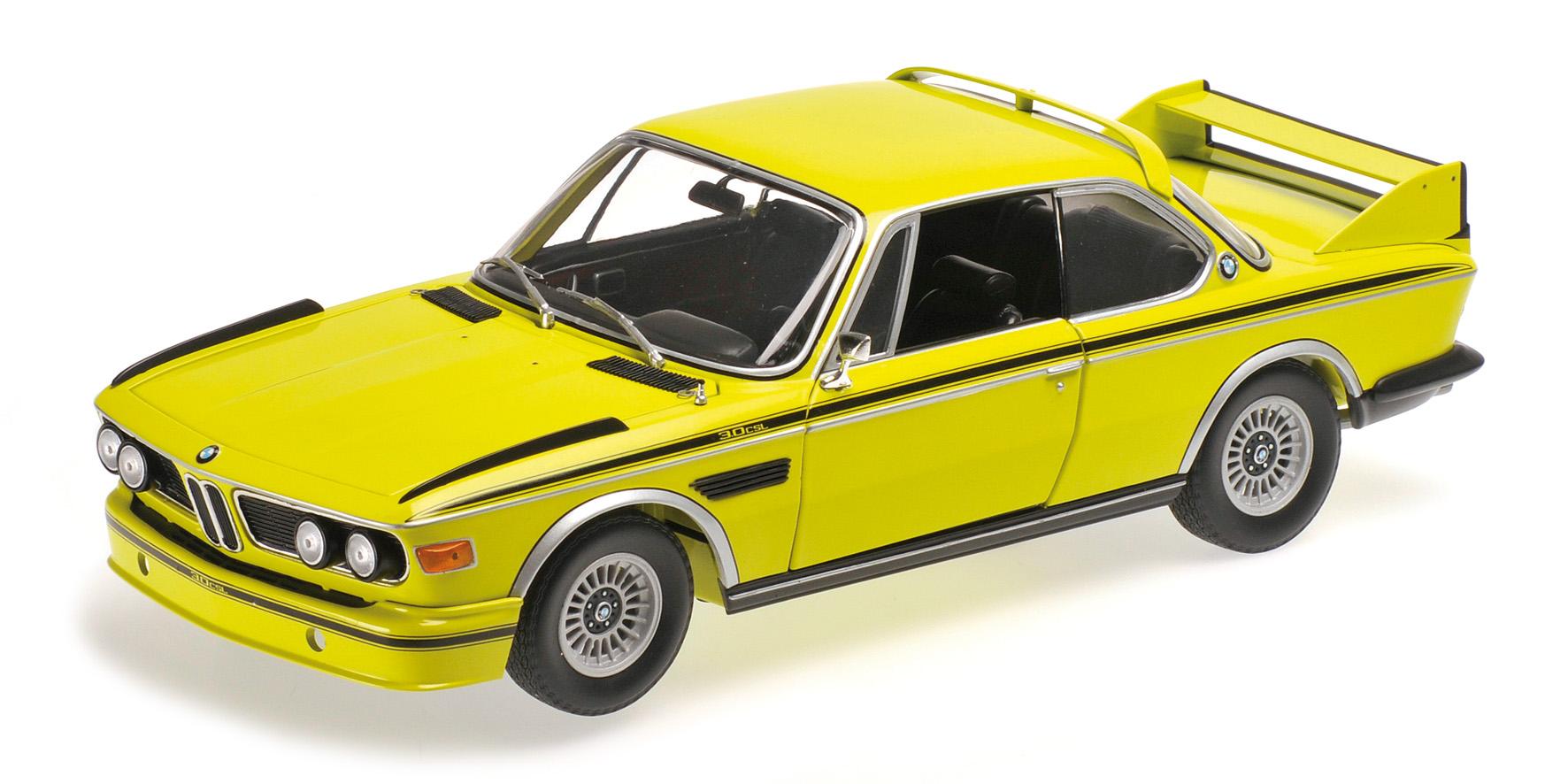BMW 3.0 CSL E9 COUPE 1972 jaune WITH STRIPES Minichamps 180029028