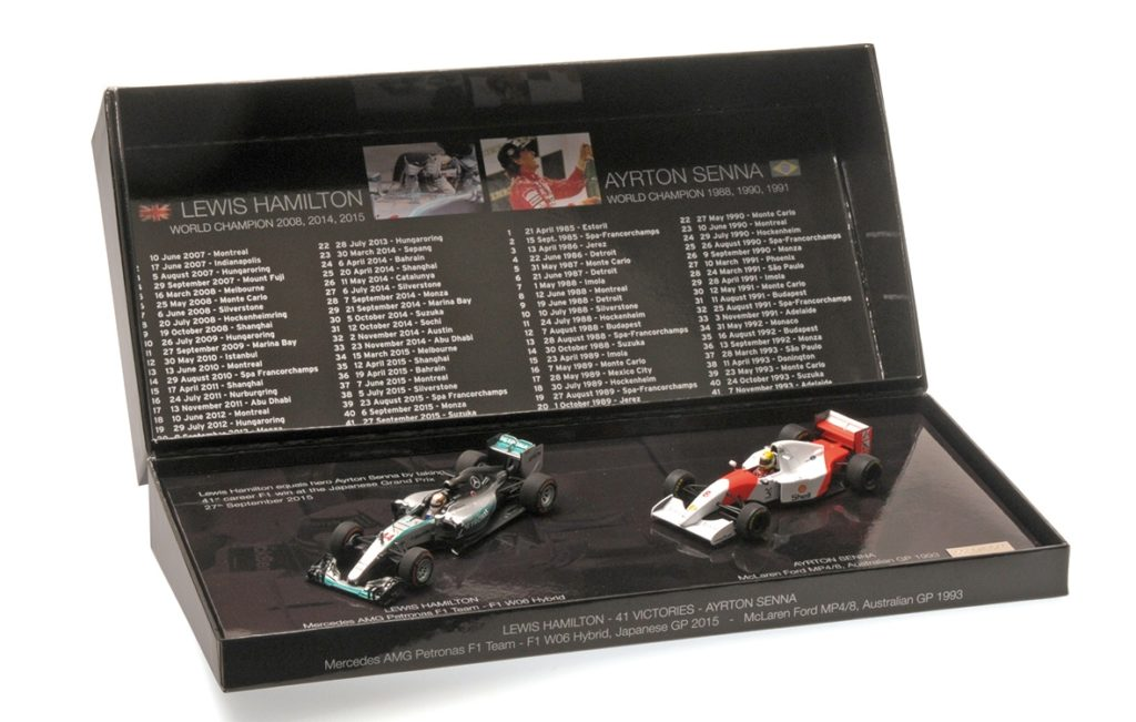 412 414408 McLAREN AYRTON SENNA WINNER AUSTRALIAN GP 1993 MERCEDES L. HAMILTON WINNER JAPANESE GP 2015 41ST CAREER WINS