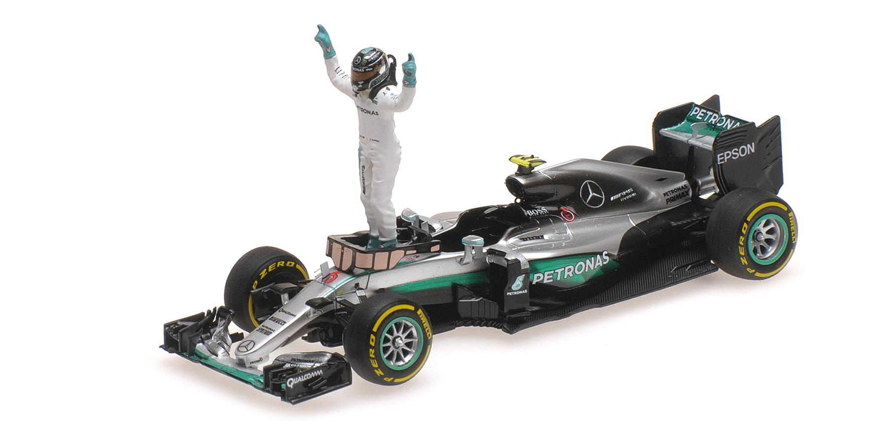 MERCEDES W07 HYBRID NICO ROSBERG WITH FIGURINE WORLD CHAMPION F1 2016 Minichamps