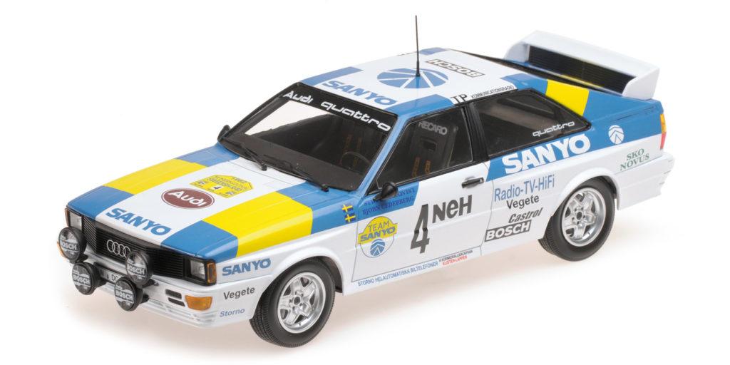 155 821105 AUDI QUATTRO SPORT SWEDEN BLOMQVIST WINNERS INTERNATIONAL SWEDISH RALLY 1982 MINICHAMPS