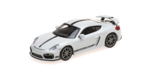 870 066120 PORSCHE CAYMAN GT4 2016 WHITE WITH BLACK STRIPE AND BLACK WORDING MINICHAMPS
