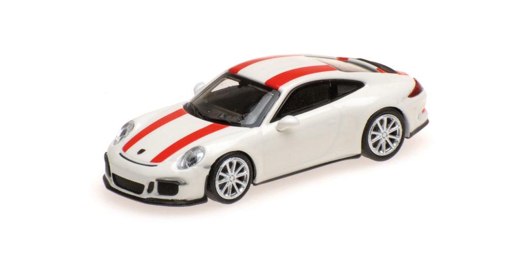 870 066220 PORSCHE 911 R 2016 WHITE WITH RED STRIPES MINICHAMPS