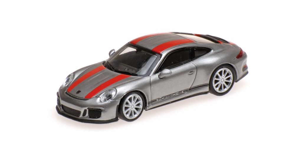 870 066221 PORSCHE 911 R SILVER WITH RED STRIPES AND BLACK WRITING MINICHAMPS