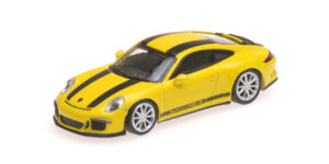 870 066222 PORSCHE 911 R 2016 YELLOW WITH BLACK STRIPES AND BLACK WRITING MINICHAMPS