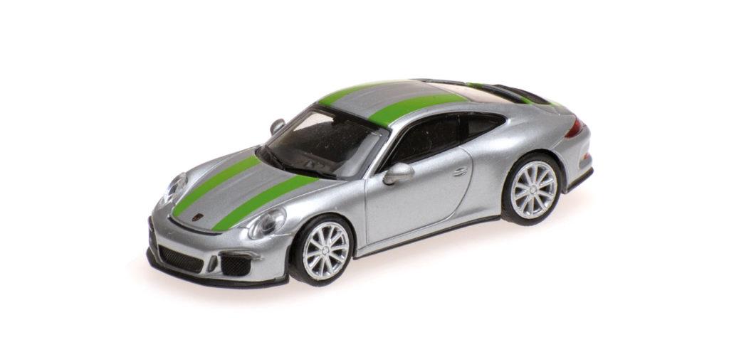 870 066225 PORSCHE 911 R 2016 SILVER WITH GREEN STRIPES MINICHAMPS