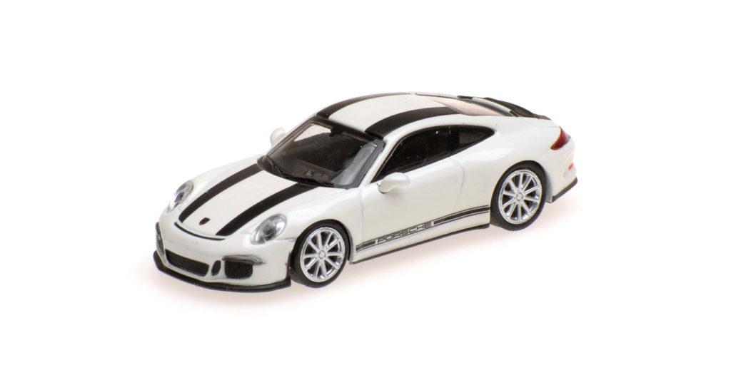 870 066226 PORSCHE 911 R 2016 WHITE WITH BLACK STRIPES AND BLACK WRITING MINICHAMPS