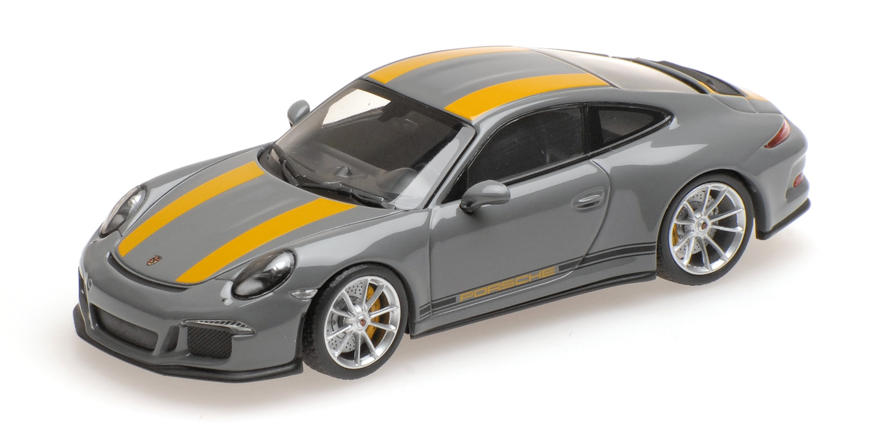 PORSCHE 911 R 2016 NARDOgris WITH jaune SIDEWAYS Minichamps 410066232